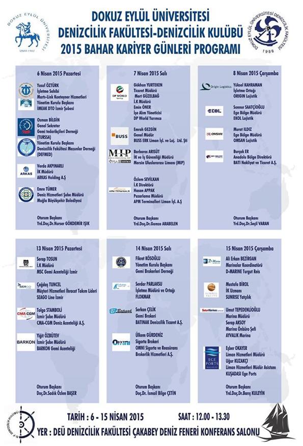 DEÜ 2015 Bahar Kariyer Günleri Programı