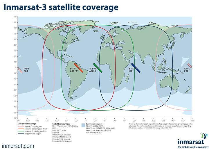 Inmarsat3 satellite coverage