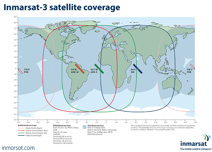Inmarsat3 satellite coverage